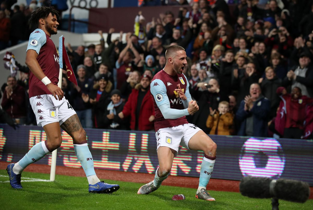 Aston Villa's Conor Hourihane celebrates scoring his side's first goal of the game (Nick Potts/PA Wire)