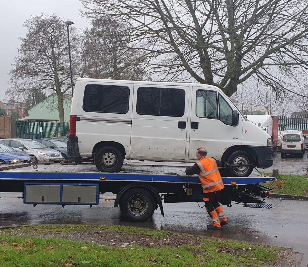 The seized van
