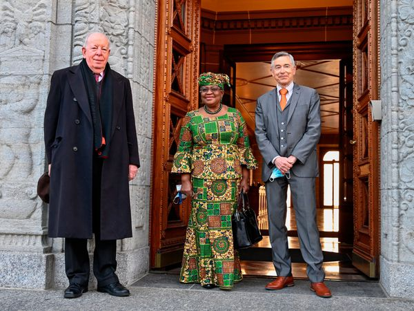 New Director-General of the World Trade Organisation Ngozi Okonjo-Iweala, centre