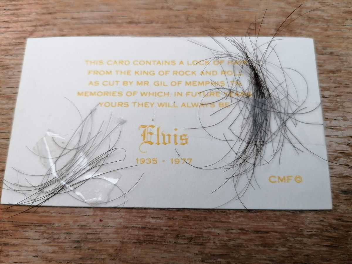 The lock of Elvis's hair. Photo: Hansons
