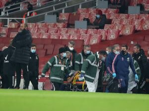 Raul Jimenez is taken away on a stretcher (AMA)