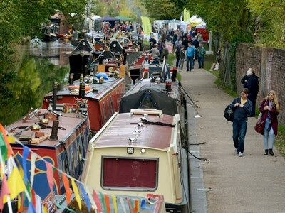 Narrowboats arriving ready for Stourbridge Navigation Trust Open Weekend