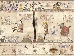 Check out these English football-inspired Bayeux Tapestry designs