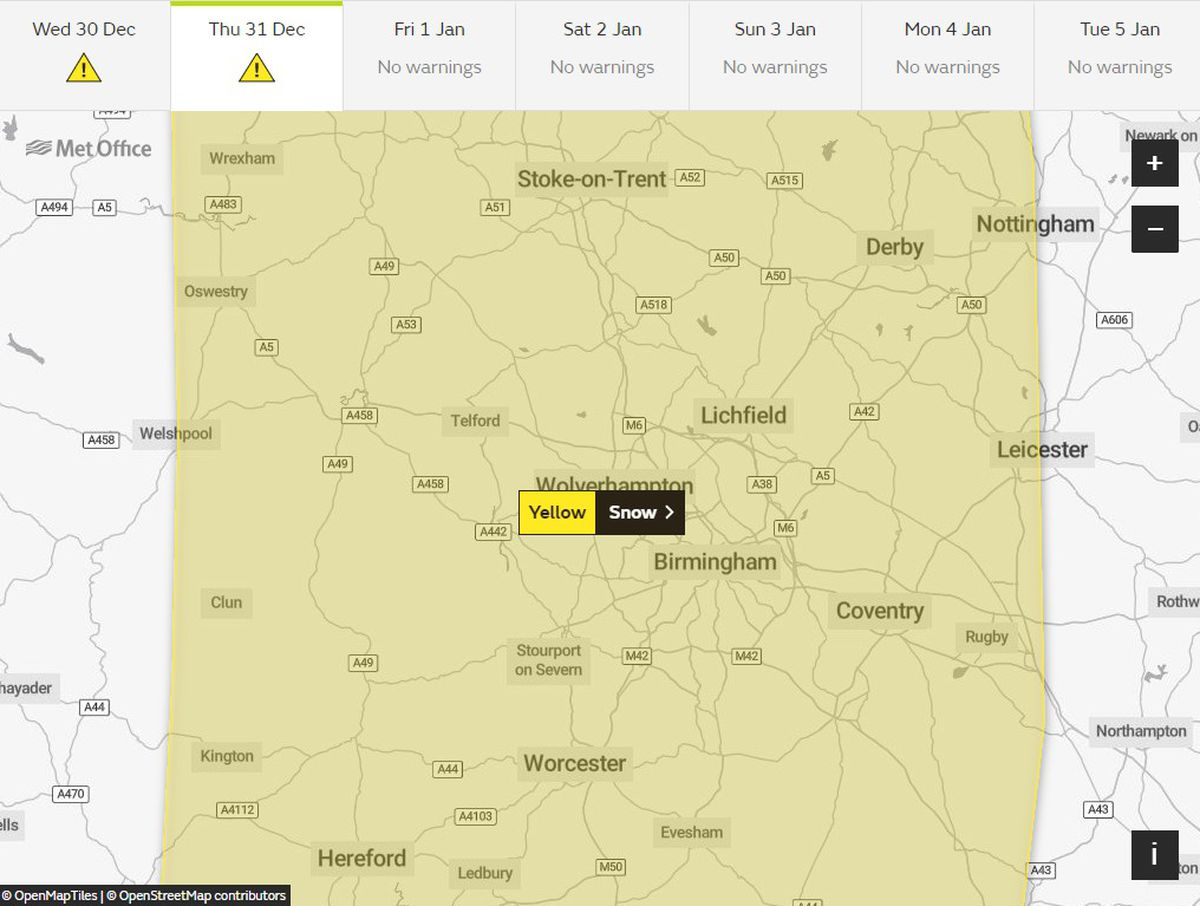 Yellow weather warnings for snow been issued by the Met Office for tomorrow across the region