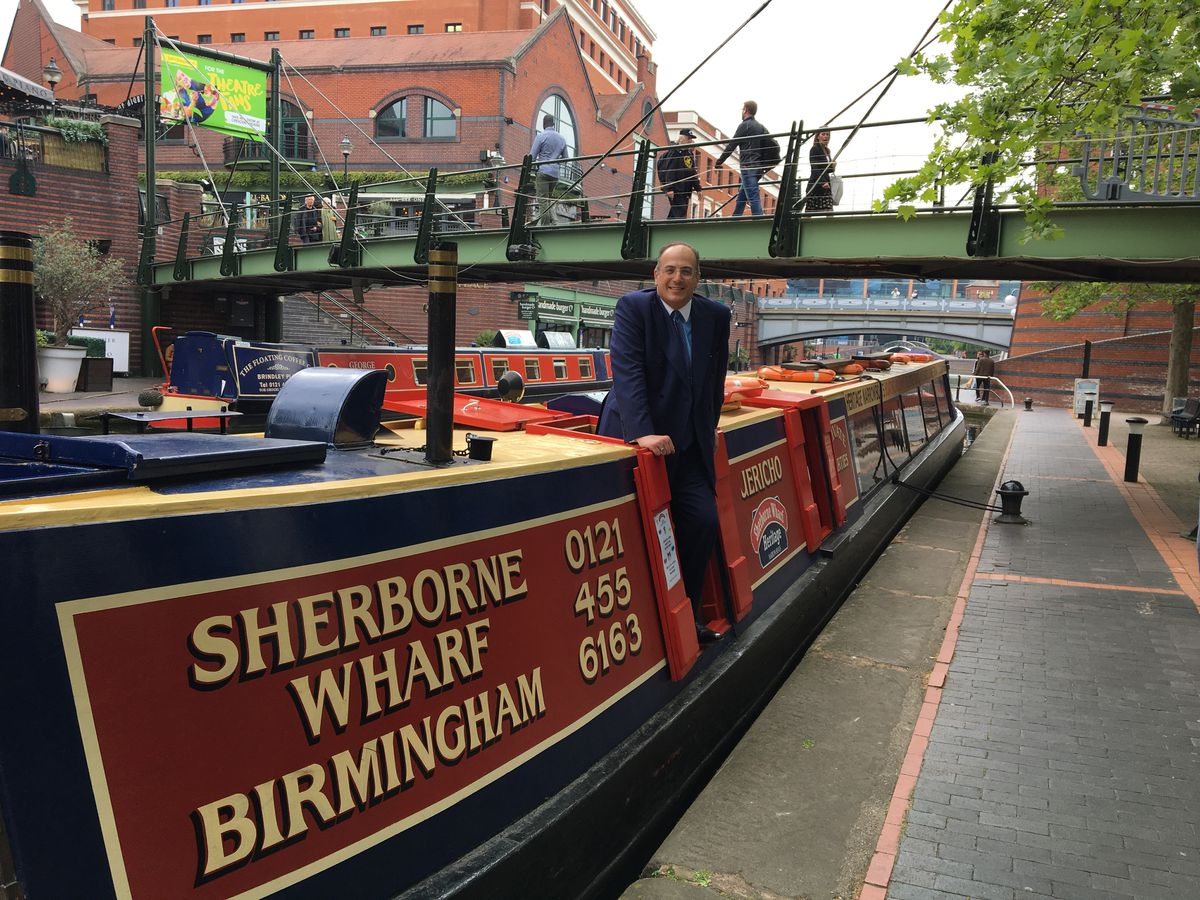 Tourism Minister Michael Ellis enjoying a visit to Birmingham's city centre canals
