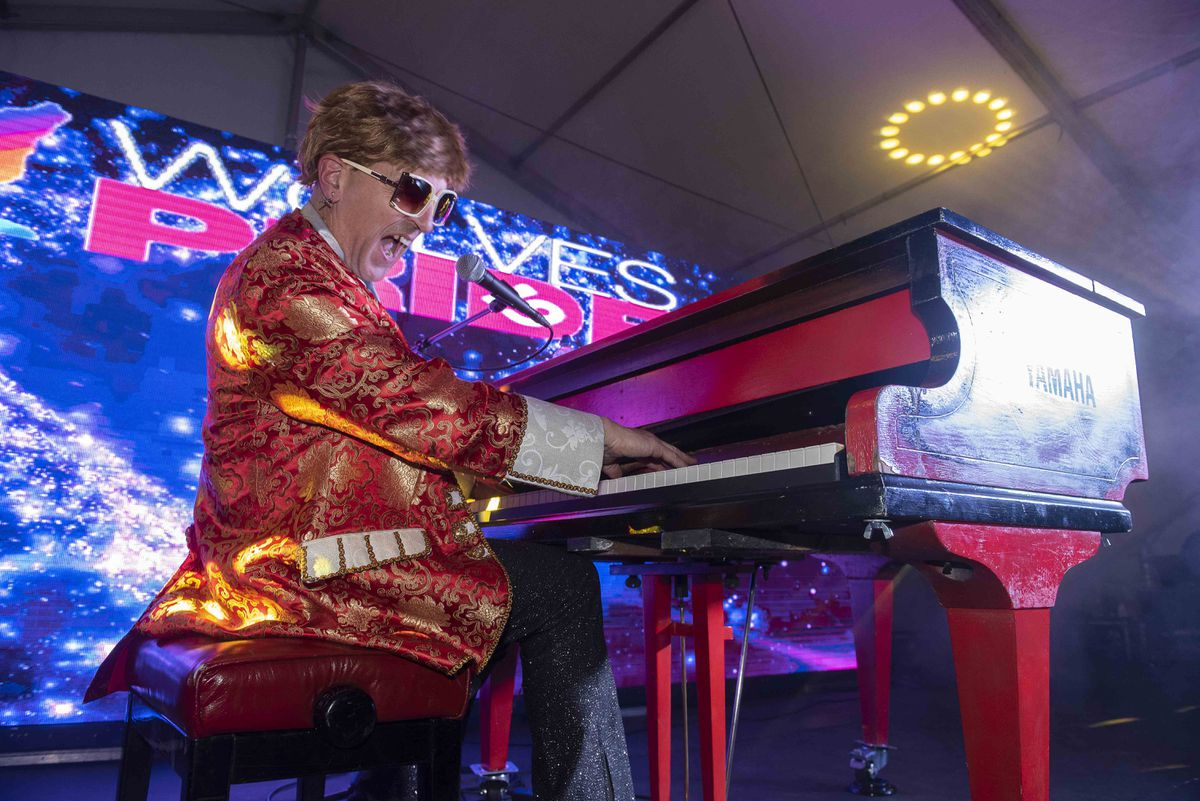 Elton John tribute act at Wolverhampton Pride 2019. Photo: Wolverhampton Today
