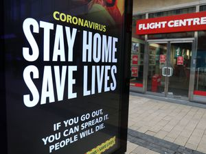 A Stay Home Save Lives sign on Broadmead in Bristol during England's third national lockdown