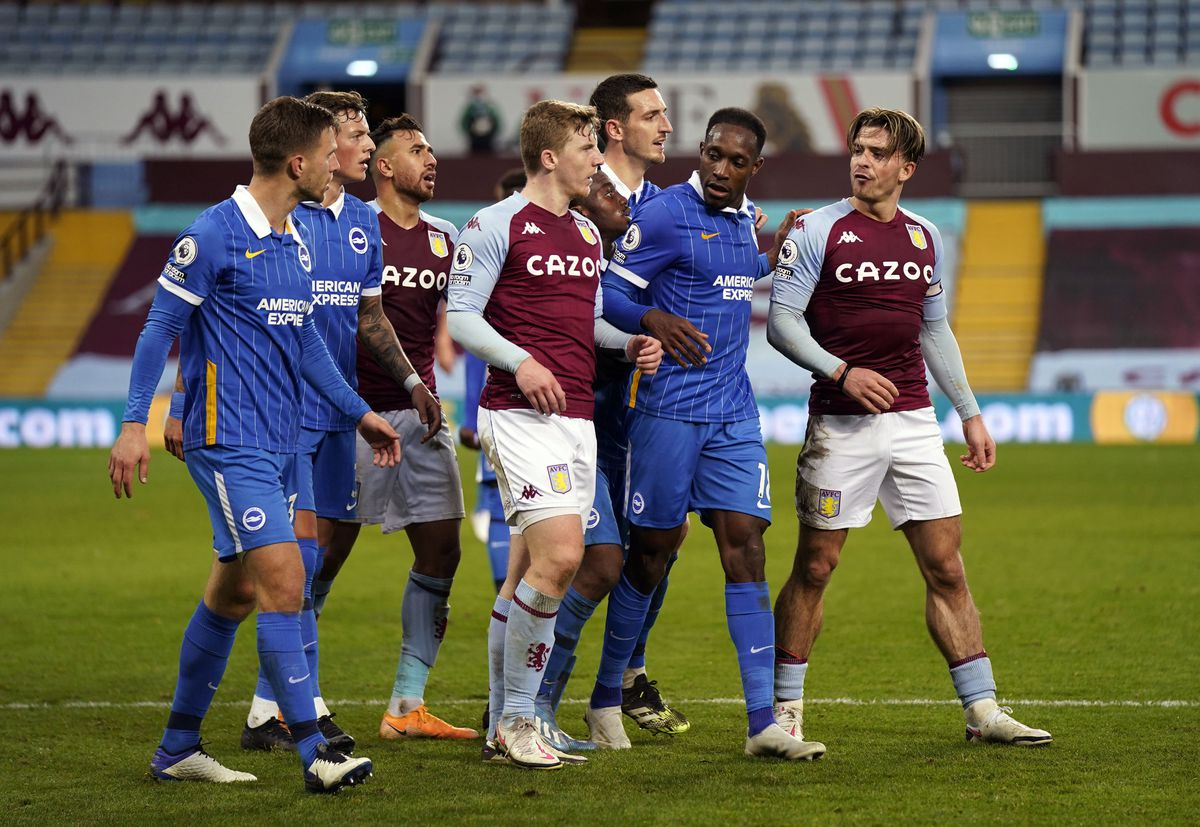 Tempers flare between Aston Villa's Jack Grealish (right) and Brighton and Hove Albion's Joel Veltman