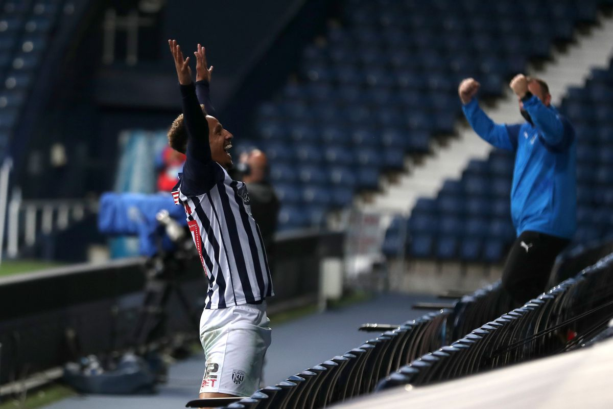 Callum Robinson of West Bromwich Albion celebrates after scoring a goal to make it 2-1. (AMA)