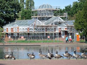 West park conservatory, which is covered in scaffolding