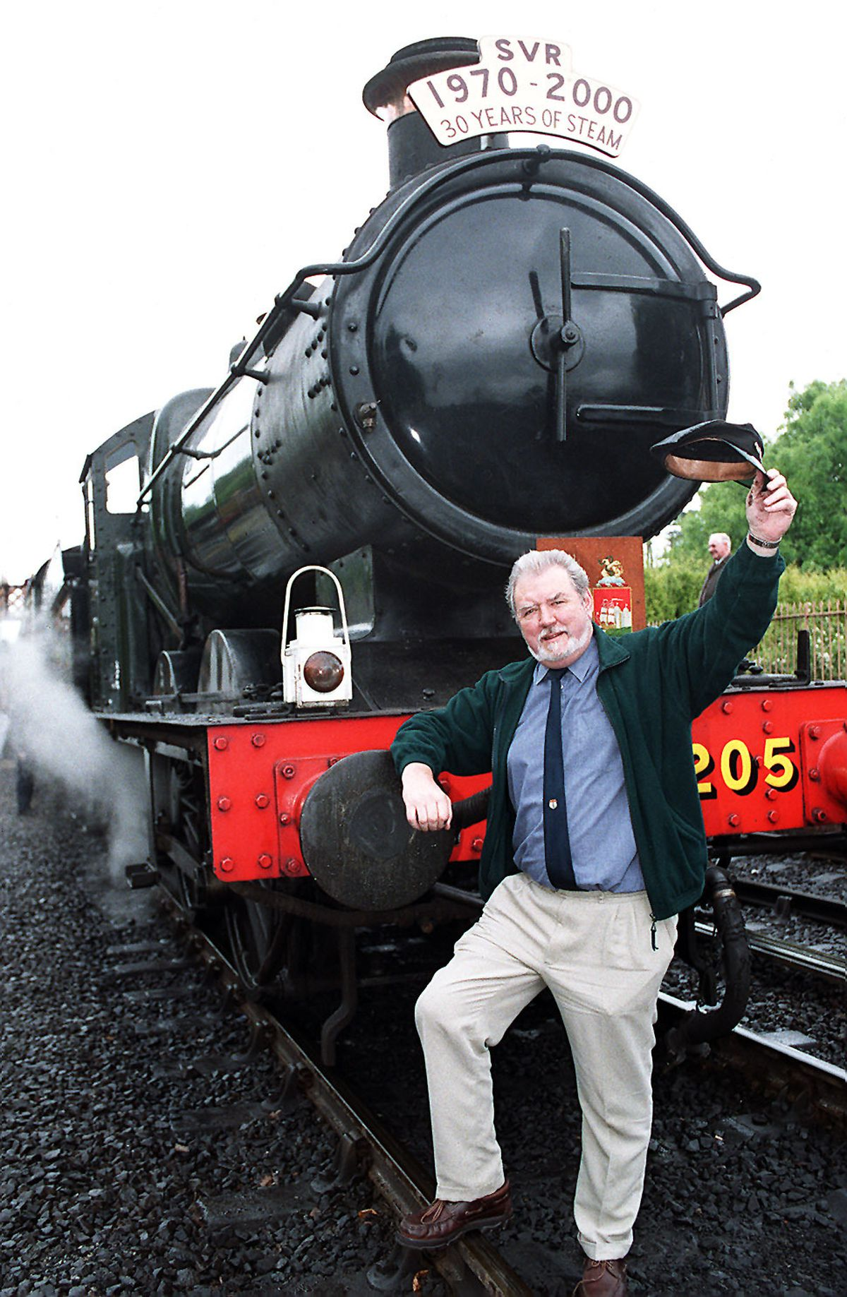 John with the train on its 30th anniversary