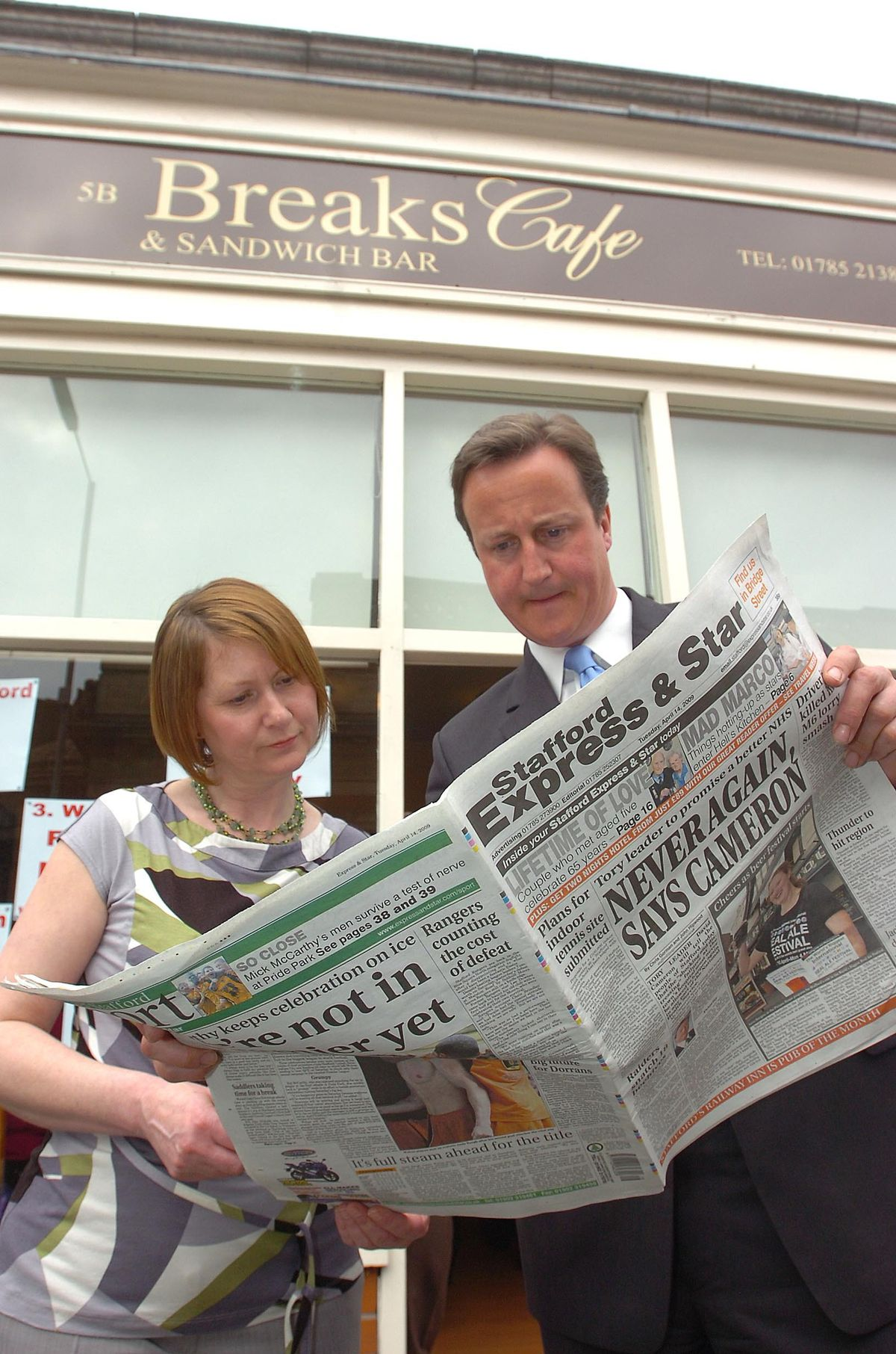 David Cameron and Julie Bailey with a copy of the Express & Star in 2009