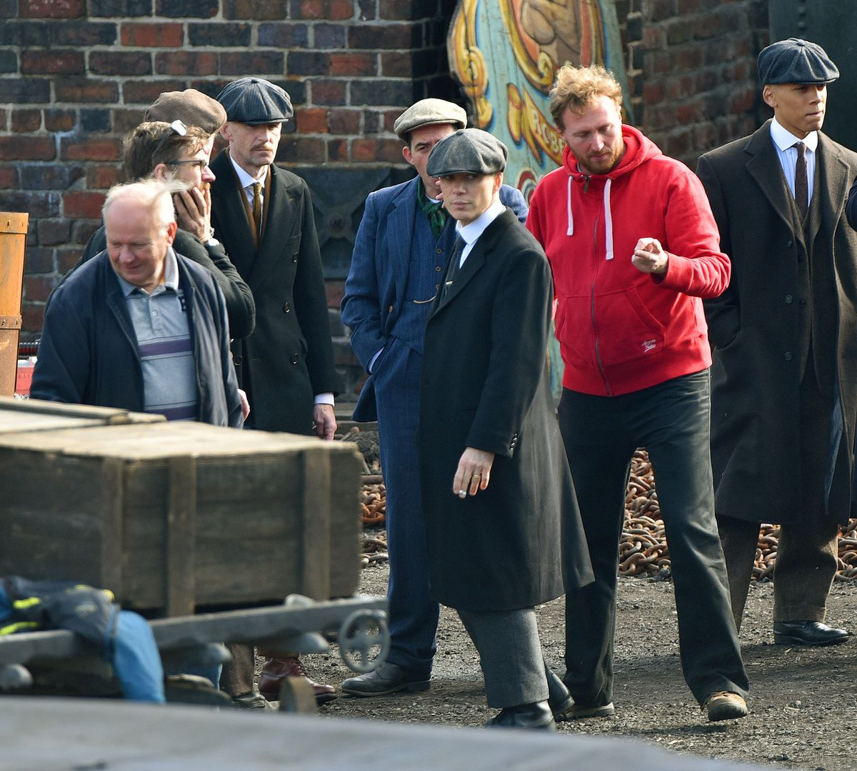 Cillian Murphy and co-stars during filming for Peaky Blinders at the museum