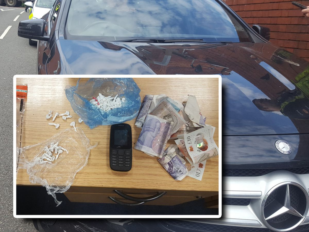 Cash, suspected drugs wraps and a mobile phone were found in a stolen Mercedes. Photos: @ResponseWMP
