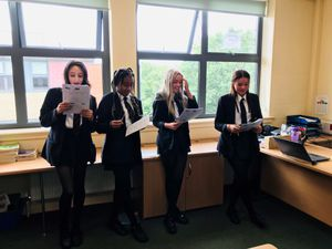 Year nine pupils carry out their pitch