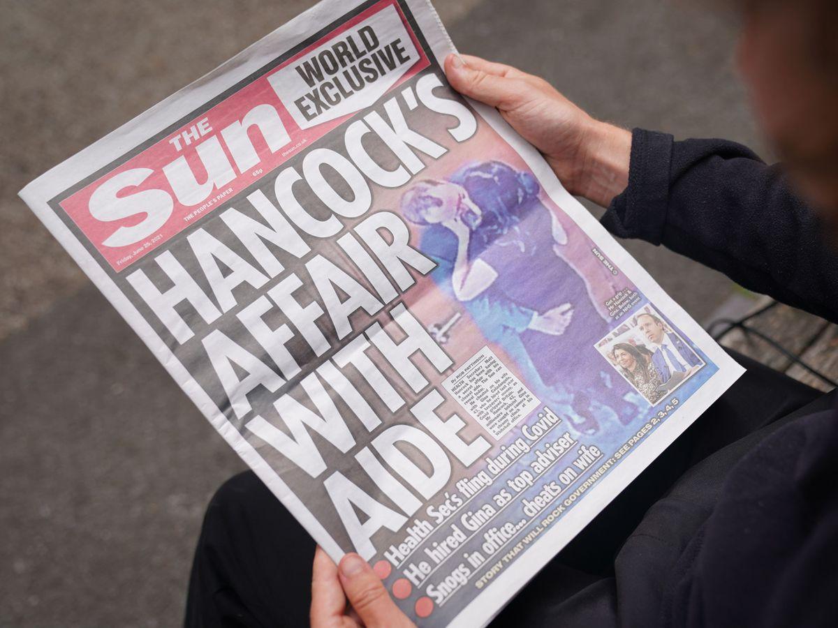 The Sun front cover on Matt Hancock affair accusations