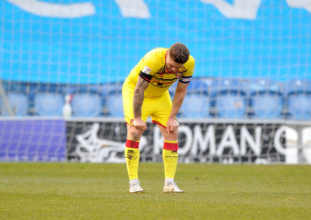 A dejected James Clarke at the final whistle