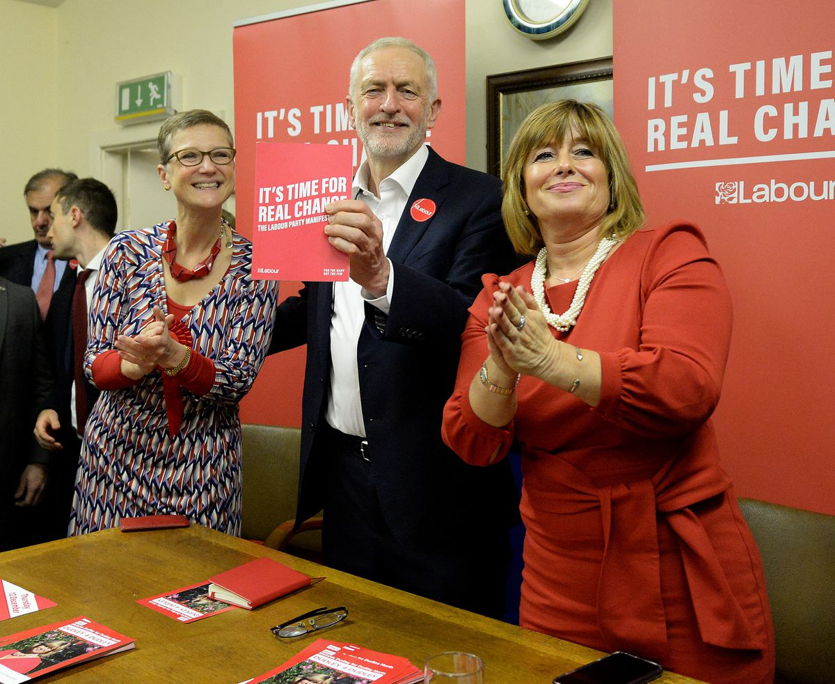 Jeremy Corbyn with Labour's Dudley South candidate Lucy Caldicott, left, and Dudley North candidate Melanie Dudley, right