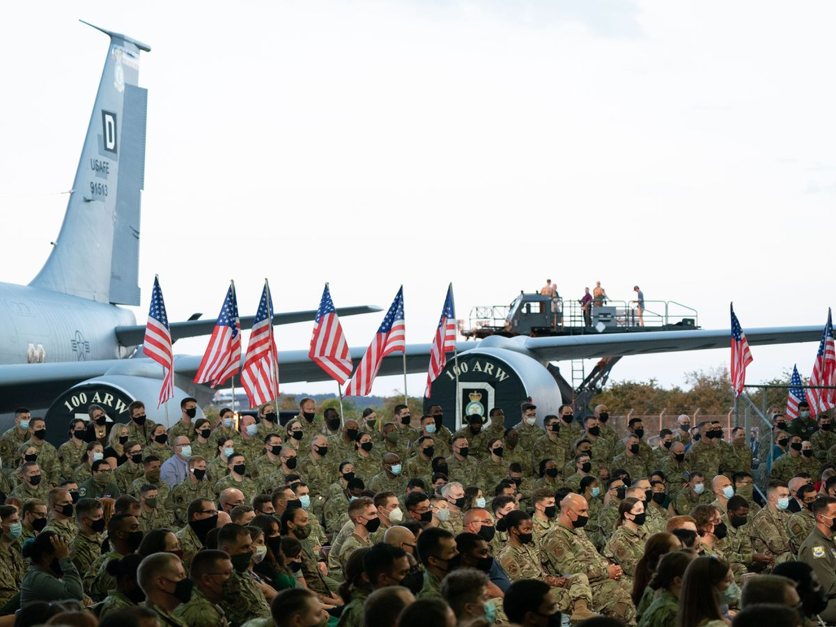 United States Air Force personnel listen to US president Joe Biden at RAF Mildenhall in Suffolk