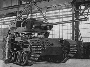 The Wednesbury-cast turret is put in place on a Centurion tank.