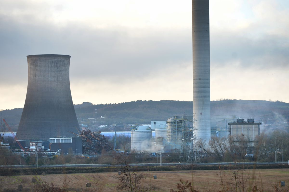 A controlled demolition of ductwork around the main chimney at Rugeley Power Station took place in December last year