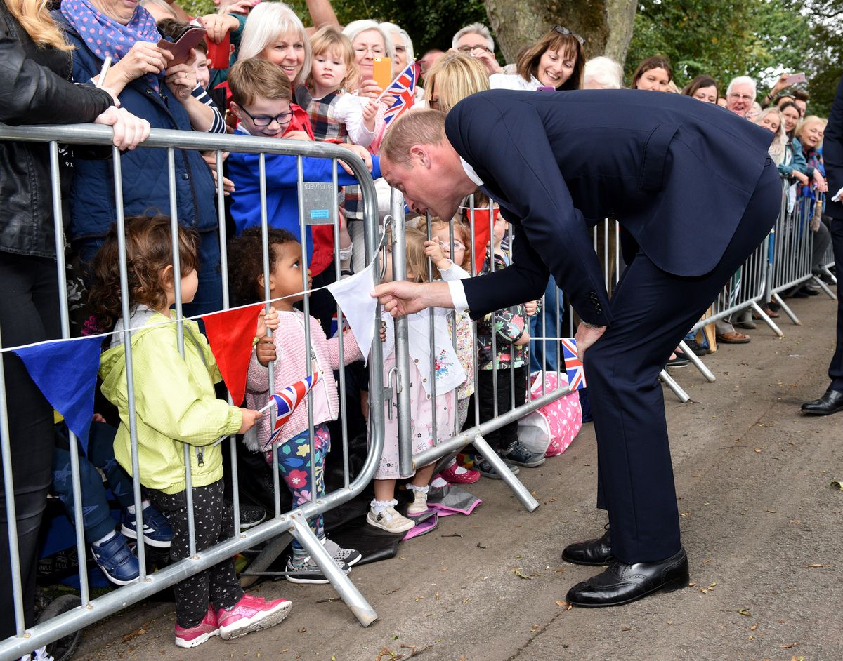 Prince William says hello to the crowd in Stourbridge