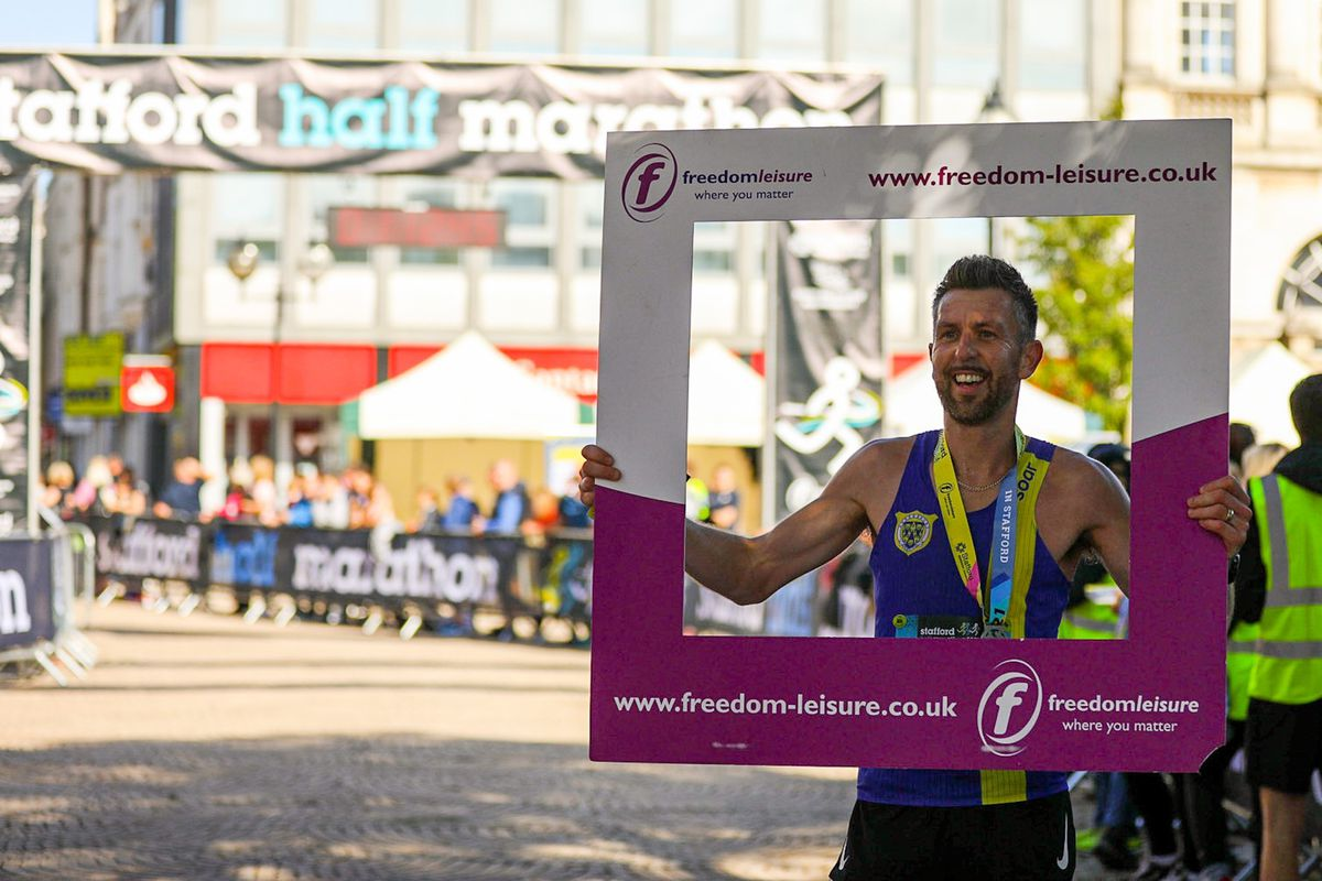 Matt Costello of Shrewsbury Running Club was the first to complete the half marathon.