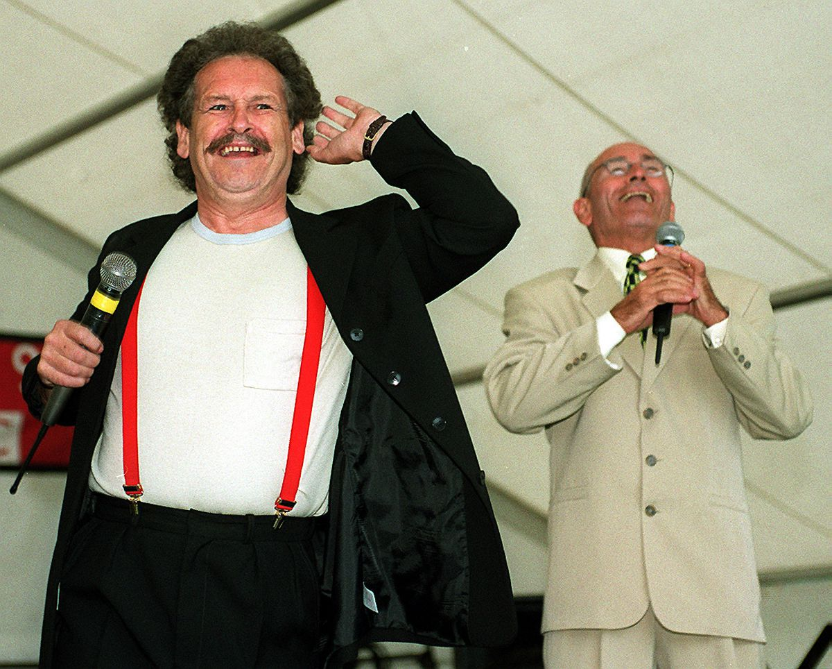 Bobby Ball (left) and partner Tommy Cannon entertain the crowds at a rain-soaked Dudley Show