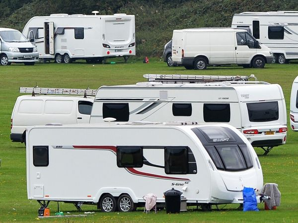 A stock photo of travellers' caravans