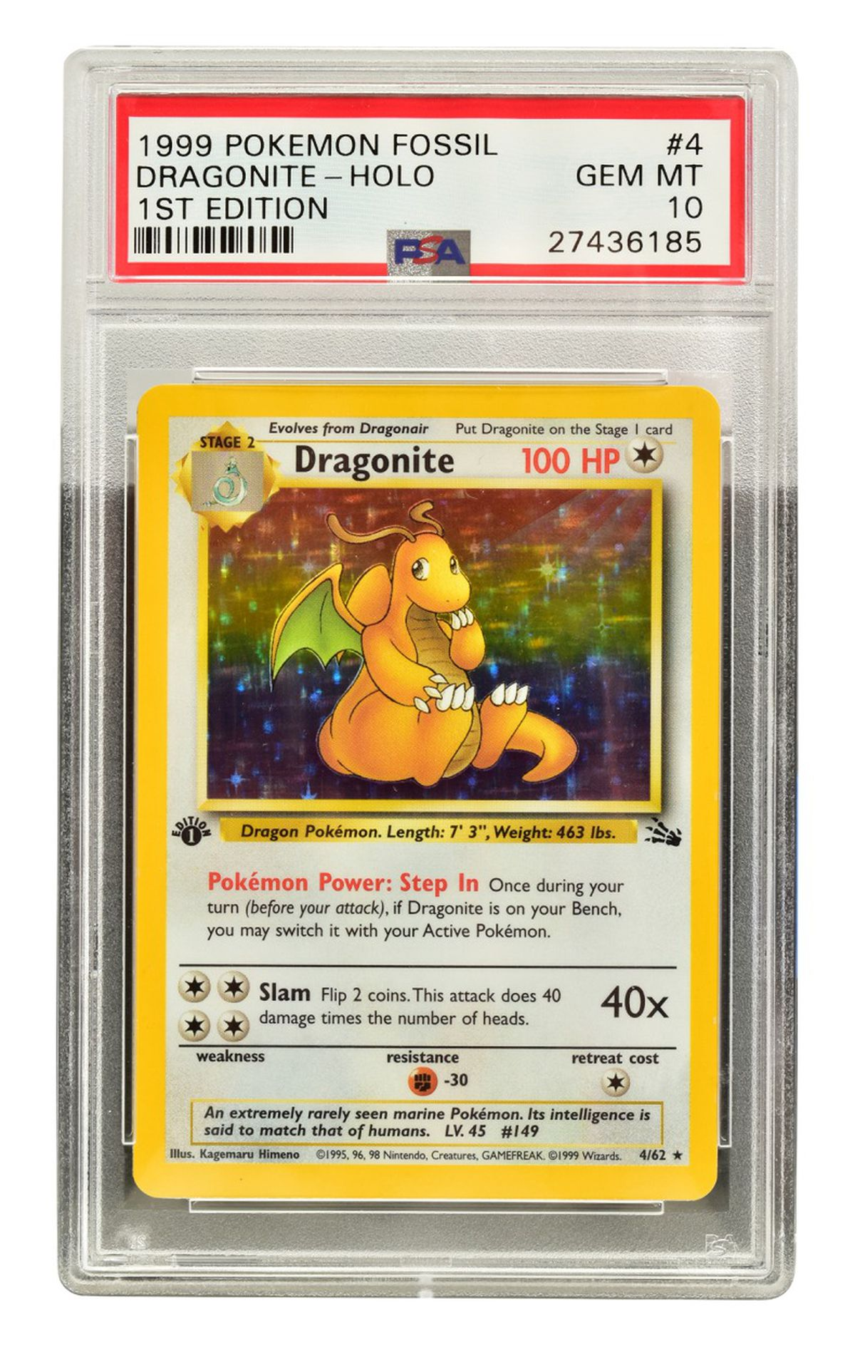 A 1st edition Fossil Dragonite Holo, PSA Gem Mint 10, estimated to sell for £3,000-£5,000.