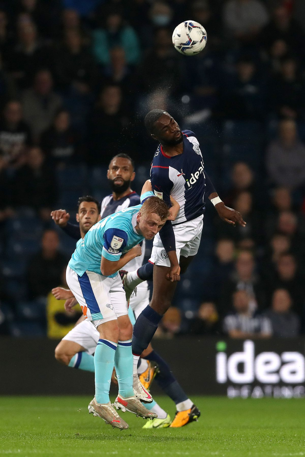 Semi Ajayi of West Bromwich Albion and Louie Sibley of Derby County (Photo: WBA/Adam Fradgley)