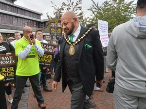 Sandwell Mayor Mushtaq Hussain arriving for the meeting which included a debate about Walker Grange care home