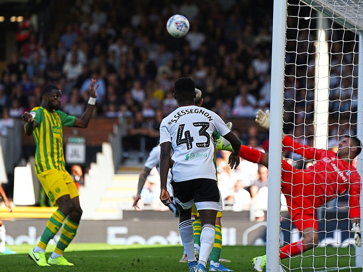 Semi Ajayi scores his side's goal during the Sky Bet Championship match at Craven Cottage