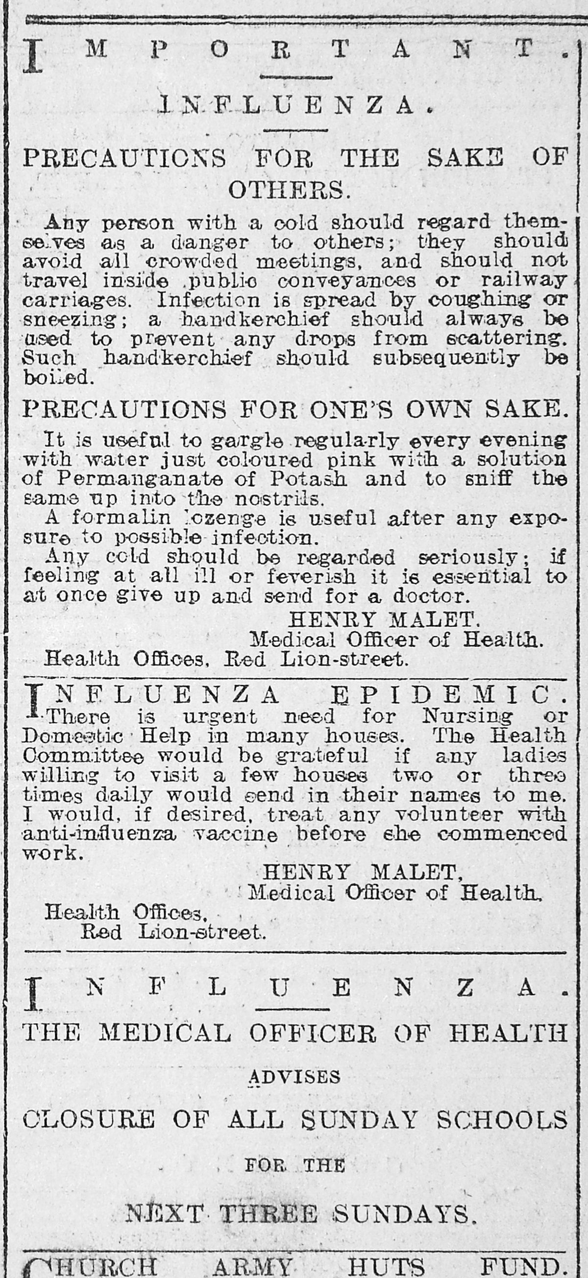 A public notice in 1918 giving advice on how to stop the spread