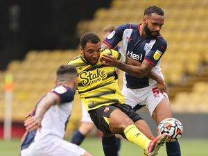 Kyle Bartley  of West Bromwich Albion and Troy Deeney of Watford.