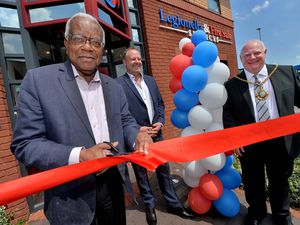 LICHFIELD COPYRIGHT EXPRESS AND STAR STEVE LEATH 01/06/2021..Pic in Lichfield at  Legionella & Fire Safe Services opened new offices with Sir Trevor McDonald, here with MD Steve Morris and Mayor: Robert Yardley..