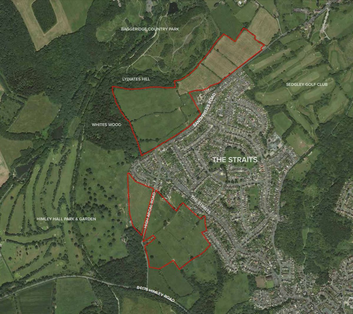 A map showing the sites of some of South Staffordshire Council's potential developments