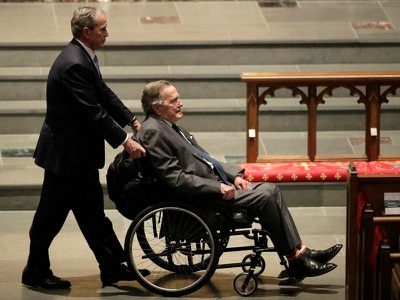 George HW Bush responding and recovering, spokesman says