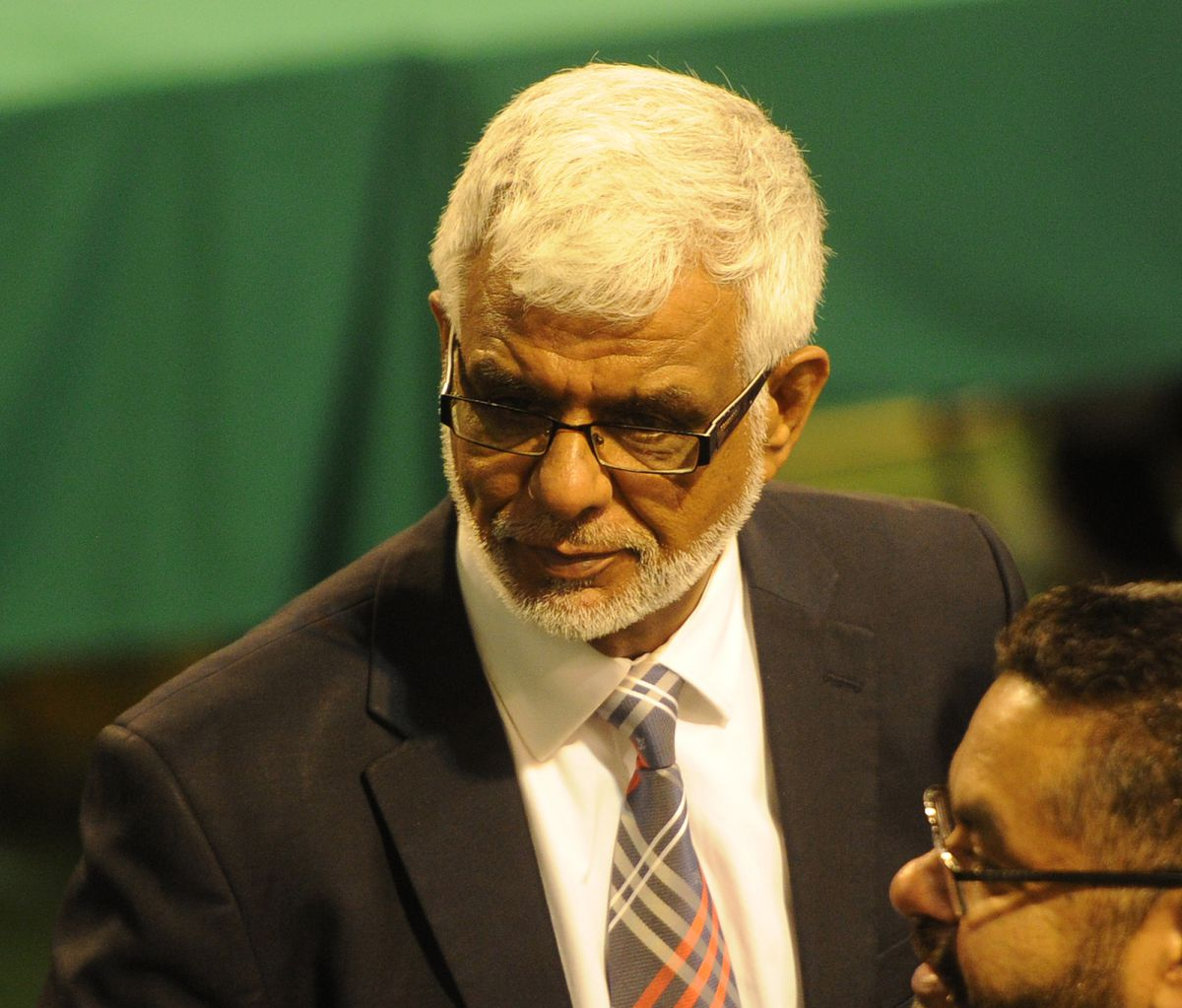 Councillor Mahboob Hussain, who is suspended by the Labour Party, at the Sandwell count