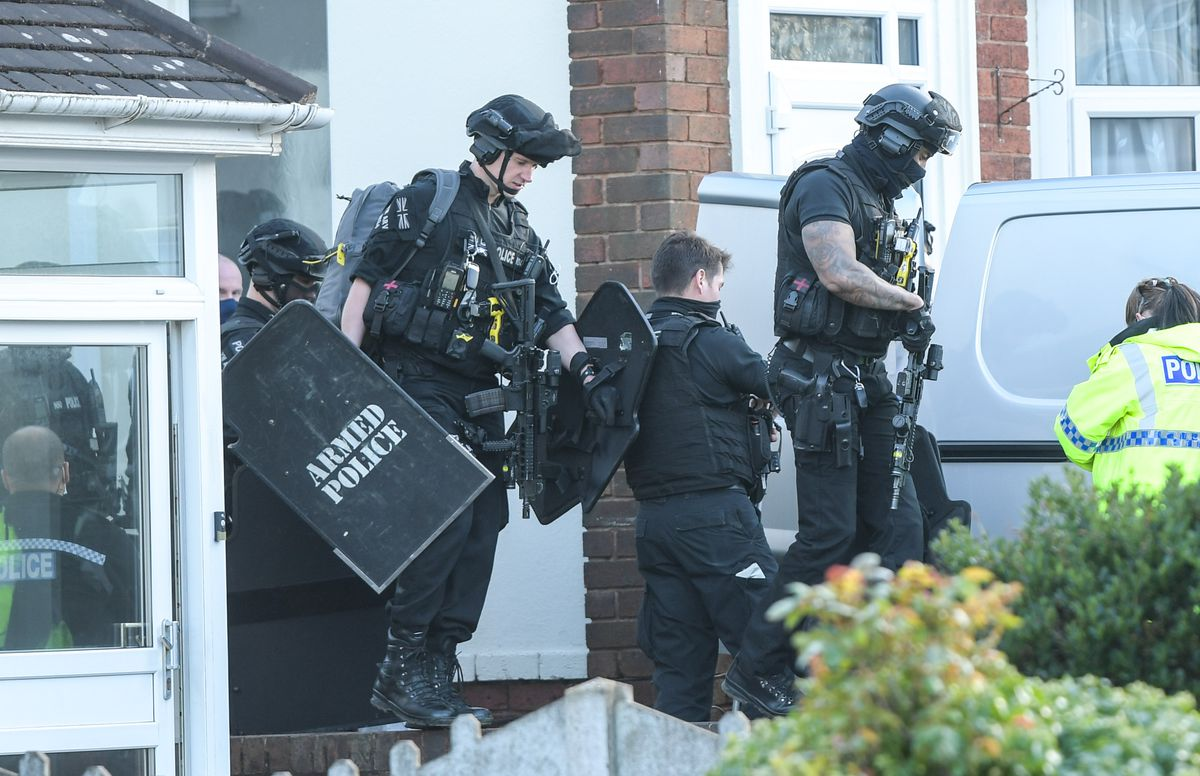 Armed police at the scene in Rowley Regis. Photo: SnapperSK