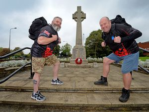 Dave Whitehead and Tam Miller are walking 234 miles each from October 1 to November 7 for the Aldridge poppy appeal