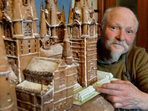 Bake Off's Terry Hartill is making a giant Hogwarts gingerbread castle in his kitchen