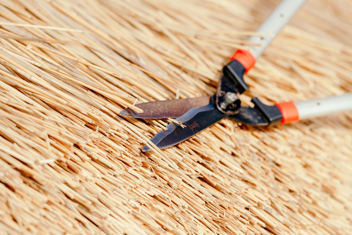 You only need a handful of tools to thatch a roof