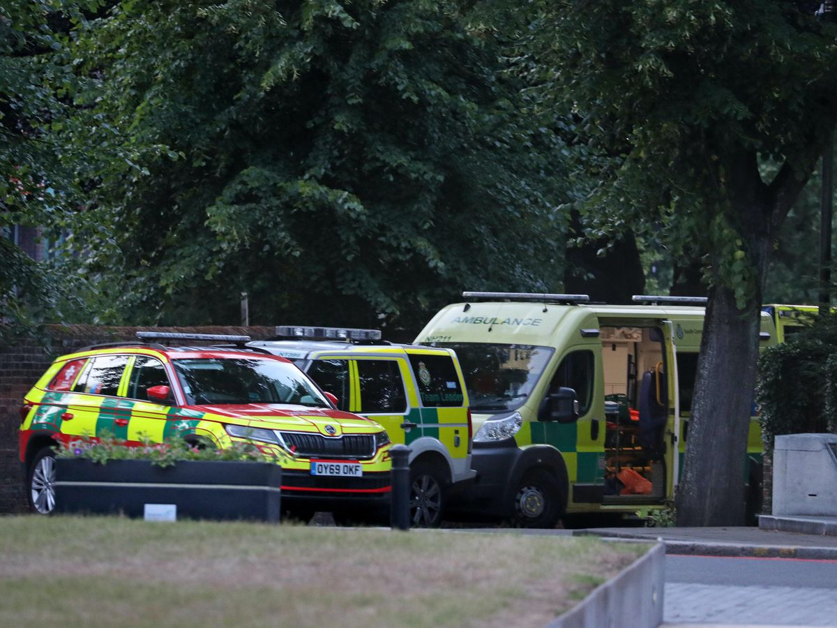 Emergency services at Forbury Gardens in Reading town centre