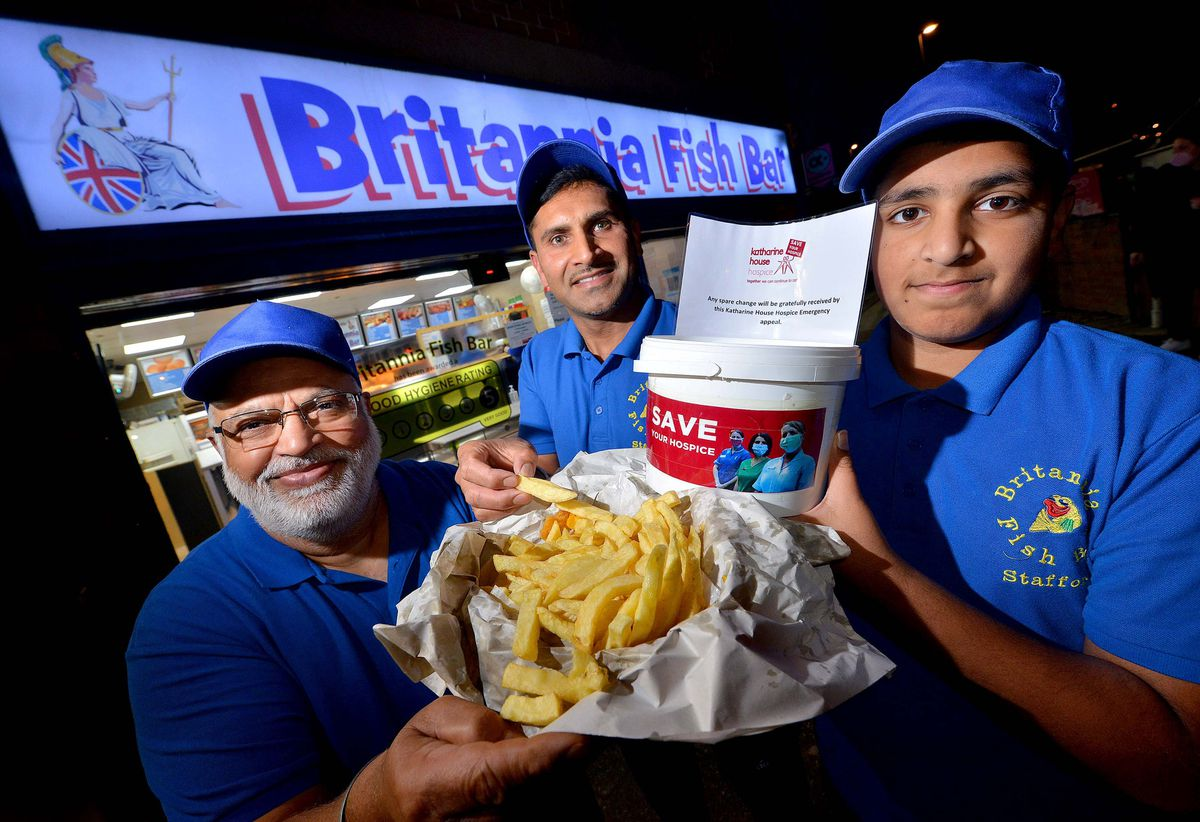 Britannia Fish Bar in Stafford has opened for each Sunday in November to raise funds for Katherine House Hospice. (L to R) owner Charanjit Singh, his son, Jasman Singh and his grandson, Jorvan Singh Mann