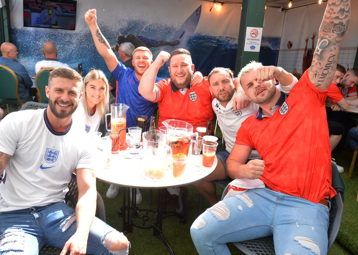 Fans at Cannock's Bar Sport were celebrating as England beat Germany 2-0 in the Euros at Wembley