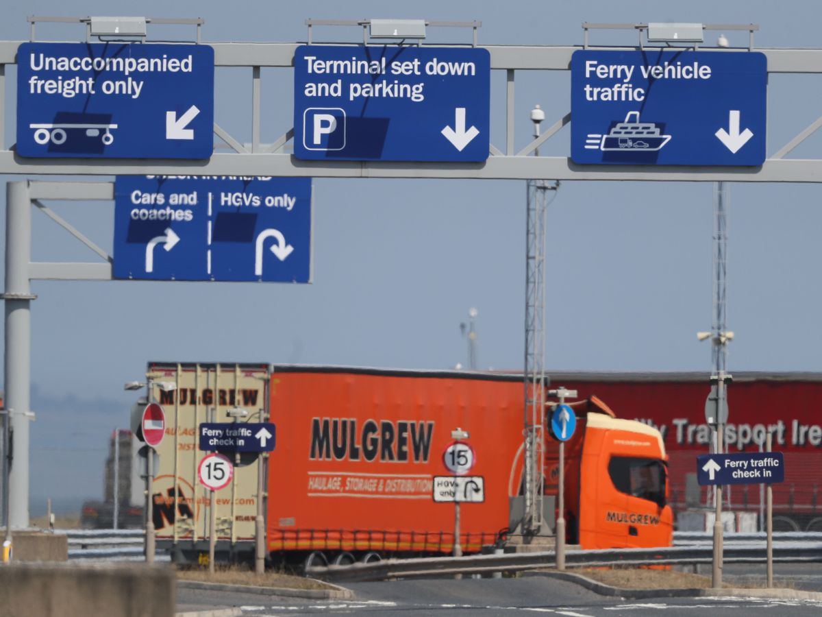A lorry at Belfast Harbour