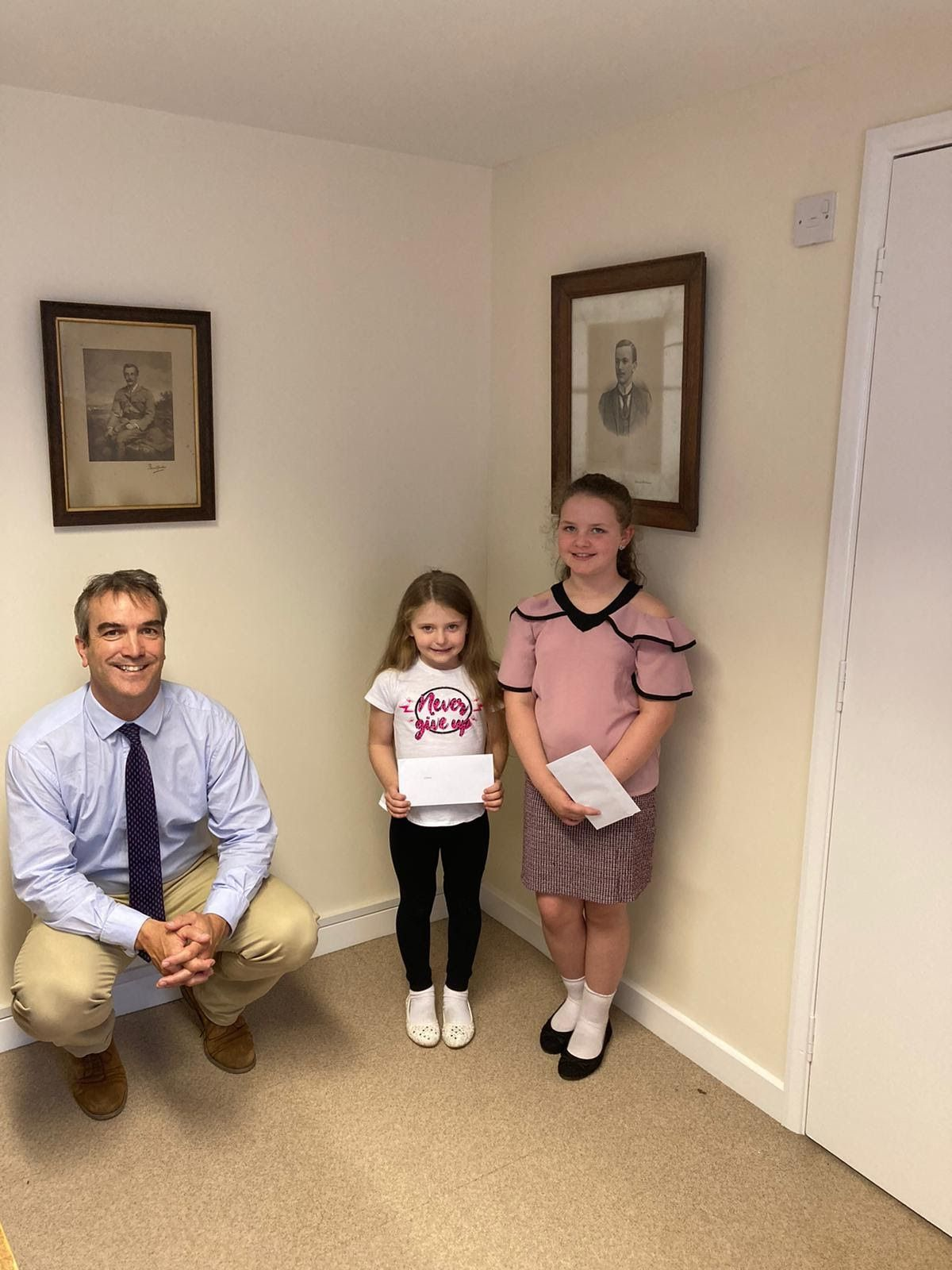 Rob Paul, Estates director, with sisters Chloe Guest and Ellie Guest
