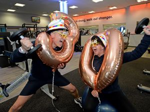 Fitness instructor Guy Etchells and fitness co-ordinator Natalie Cadwallader celebrating Chase Leisure Centre's 30th birthday