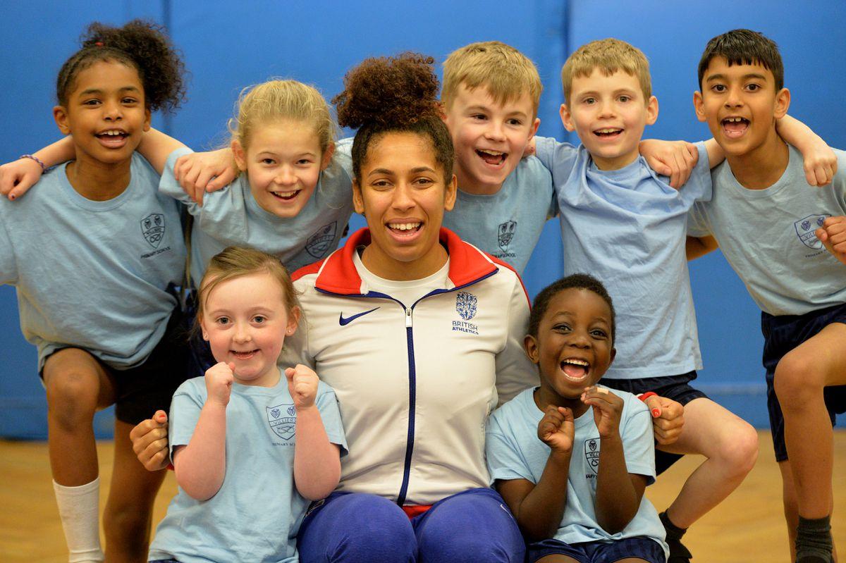 Team GB triple jumper Laura Samuel meeting pupils at Villiers Primary School in Bilston